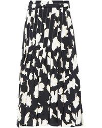 Proenza Schouler Pleated Floral-print Georgette Skirt - Black
