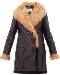 Chloé Shearling-trimmed Leather Jacket - Blue