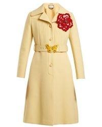 Gucci - Pintucked Butterfly-embellished Belt Coat - Lyst
