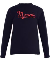 Marni - Logo-embroidered Wool Sweater - Lyst