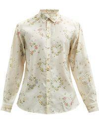 Péro Lace-trimmed Floral-print Silk Shirt - Natural