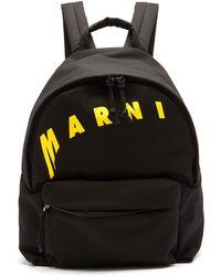 Marni ロゴプリント キャンバスバックパック - ブラック