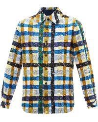 Ashish スパンコール チェックコットンシャツ - ブルー