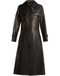 Nili Lotan - Point Collar Leather Trench Coat - Lyst