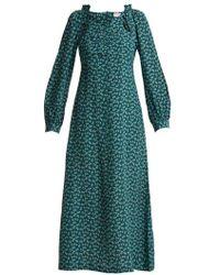 MASSCOB - - Provence Floral Print Silk Midi Dress - Womens - Green Multi - Lyst