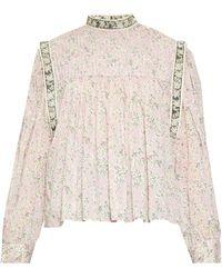 Étoile Isabel Marant Vega High-neck Floral-print Blouse - Pink