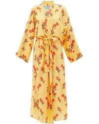 BERNADETTE Blossom Silk Crepe-de-chine Robe - Yellow