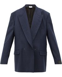 Vetements Slit-sleeve Double-breasted Check Wool Blazer - Blue