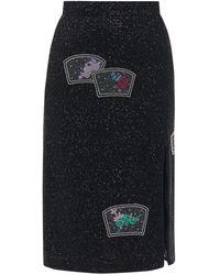 Ganni サイドジップ ビーズペンシルスカート - ブラック