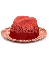 Borsalino Quito Panama Chevron-striped Straw Hat - Red