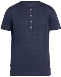 120% Lino - Henley Linen T Shirt - Lyst