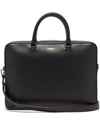 Burberry Ainsworth Logo-print Grained-leather Briefcase - Black