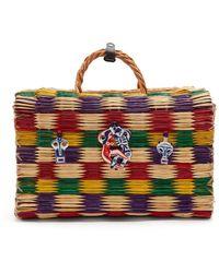 Heimat Atlantica | Love Porcelain-embellished Large Woven-wicker Bag | Lyst