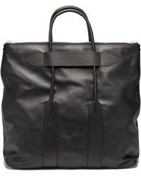 Maison Margiela Large Logo-embroidered Leather Tote Bag - Black