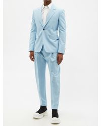 Alexander McQueen コットンキャンバス シングルスーツジャケット - ブルー