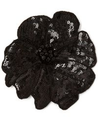 Racil Sequin And Bead Embroidered Flower Brooch - Black