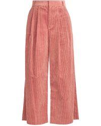 MUVEIL Wide-leg Cropped Cotton-corduroy Pants - Pink