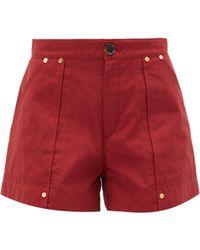 Chloé High-rise Cotton-poplin Shorts - Red