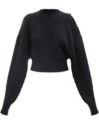 A.W.A.K.E. MODE Cold-shoulder Open-sleeve Wool-blend Sweater - Black