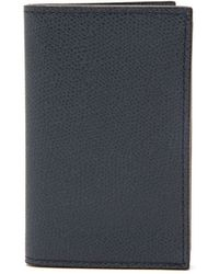Valextra Grained-leather Wallet - Blue