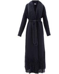 Gabriela Hearst Dream Fringed Shawl-lapel Cashmere Coat - Blue