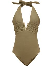Heidi Klein Venice V-bar Ribbed Swimsuit - Green