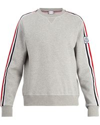 Moncler Gamme Bleu Striped Sleeve Cotton Blend Jumper - Gray
