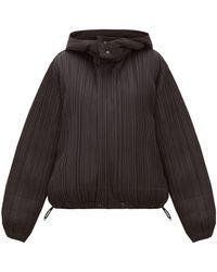 Pleats Please Issey Miyake Reversible Hooded Plissé Jacket - Black