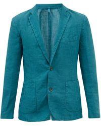 120% Lino Single-breasted Linen Jacket - Blue