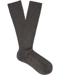 Raey Lurex Ribbed Socks - Gray