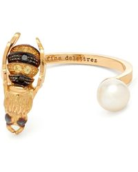 Delfina Delettrez - Diamond, Pearl & Yellow Gold Ring - Lyst
