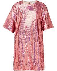 Raey Long-line Sequinned Top - Pink