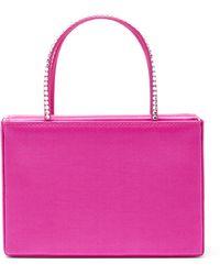 AMINA MUADDI Super Mini Embellished Satin Gilda Top-handle Bag - Pink