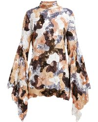 Ashish Camouflage Sequinned Flared-sleeve Mini Dress - Brown