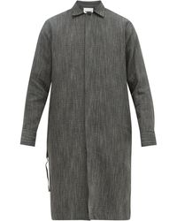 Jil Sander Marl Weave Linen Blend Long Overshirt - Black