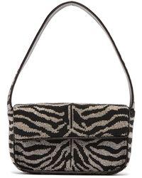 STAUD Tommy Zebra-stripe Beaded Shoulder Bag - Black