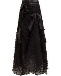 Rodarte Satin Bow Handkerchief Hem Tulle Skirt - Black