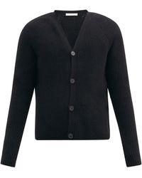 The Row Francois Ribbed Merino-wool Blend Cardigan - Black