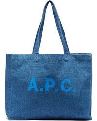 A.P.C. ダイアン ロゴ デニムトートバッグ - ブルー