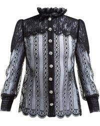 Dolce & Gabbana Crystal Embellished Chantilly Lace Blouse - Black