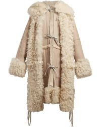 Loewe - Tie Front Hooded Shearling Coat - Lyst