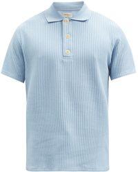 Oliver Spencer タブリー ワッフル オーガニックコットン ポロシャツ - ブルー