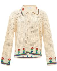 Bode Potted Flower Cotton-crochet Shirt - Natural