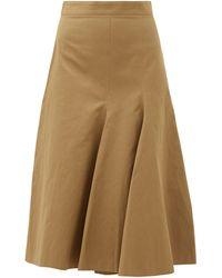 JOSEPH Barton Flared-panel Cotton-blend Skirt - Natural