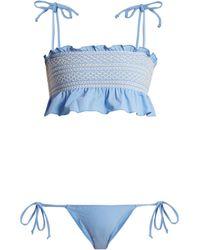 Lisa Marie Fernandez Bikini à smocks Selena - Bleu