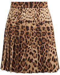 Dolce & Gabbana - Leopard Print Wool Blend Pleated Skirt - Lyst