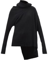 Marques'Almeida アシンメトリーヘム リブ メリノウールセーター - ブラック