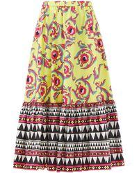 La DoubleJ Sunset Cartwheel-print Cotton-poplin Midi Skirt - Multicolour