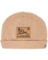 Raf Simons Heroes-embroidered Wool-blend Beanie Hat - Natural