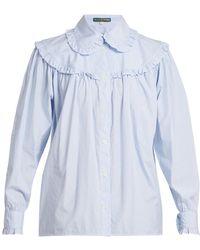 ALEXACHUNG - Striped Frill Trimmed Cotton Shirt - Lyst